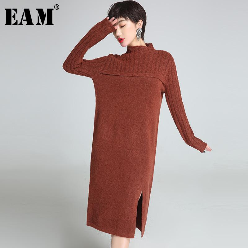 [EAM]High Quality 2018autumn Winter Fashion New Women's Solid Color Turtleneck Long Sleeve Split Mid Long Section Sweaters LA749