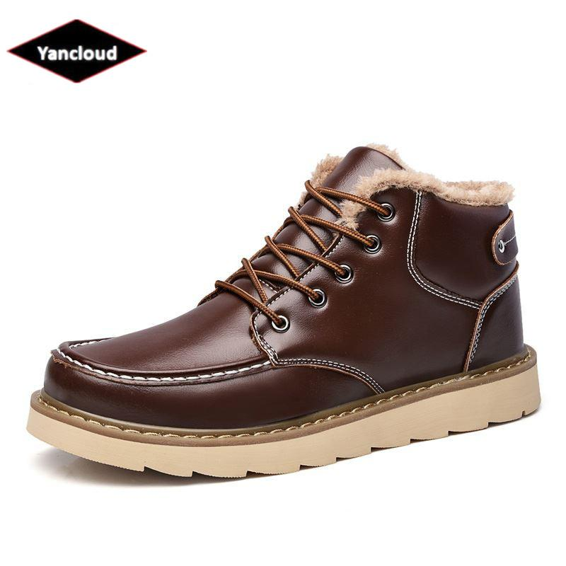 Acheter Hommes Hiver Chaussures En Coton Avec Fourrure Chaussures Haut Haut  Nouveau 2018 Bottes De Neige Antidérapant Chaud Occasionnels Hommes Bottes  De ... 234cf848881d