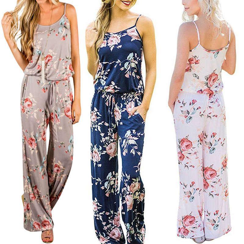 ce98e507b466 2019 Women Spaghetti Strap Floral Print Romper Jumpsuit Sleeveless Beach  Playsuit Boho Summer Jumpsuits Long Pants From Wonderfulwatch