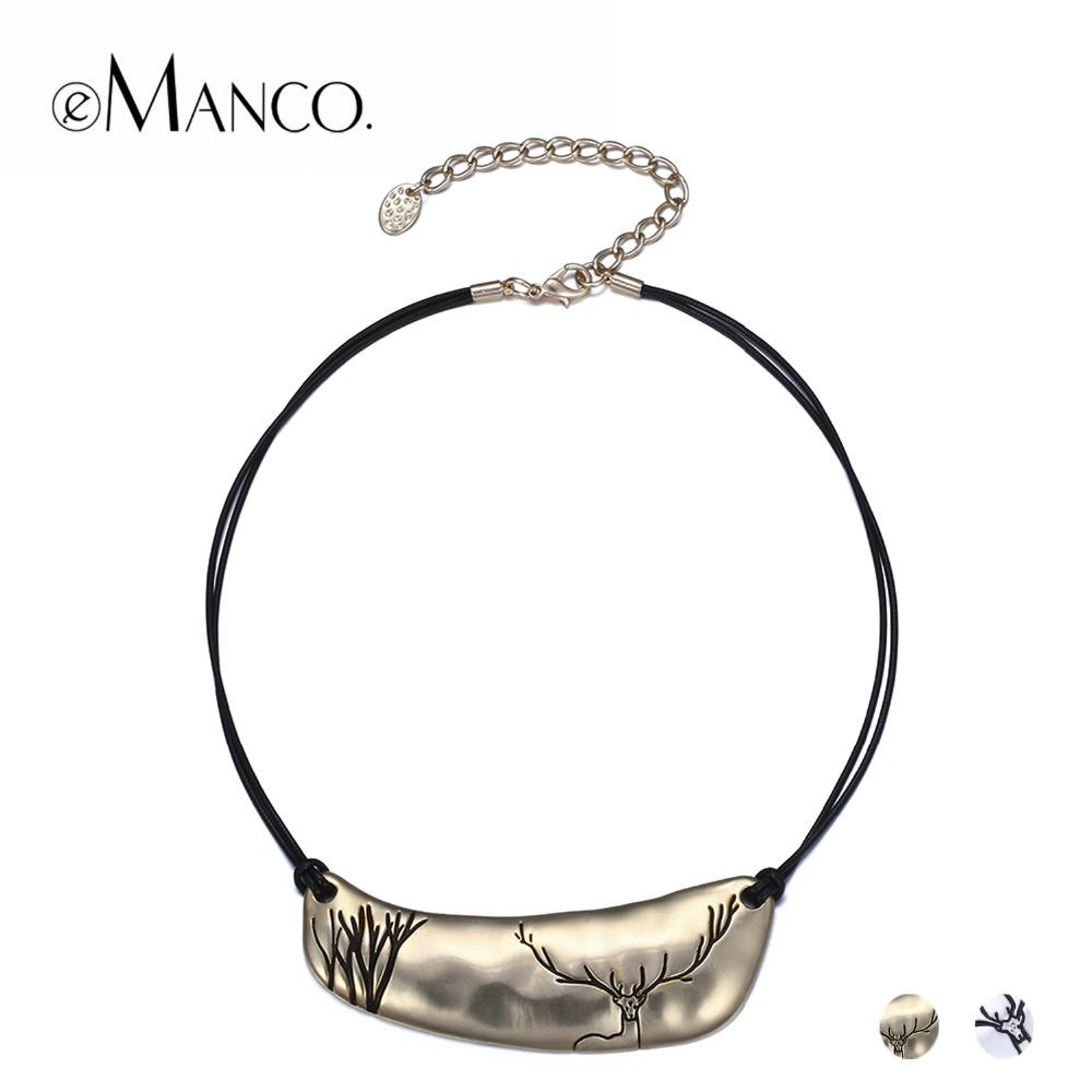 eManco 2 Color Classic Simple Cameo Layers Choker Necklaces & Pendants Women Black Rope Deer Pattern Metal Gold-Color Jewelry