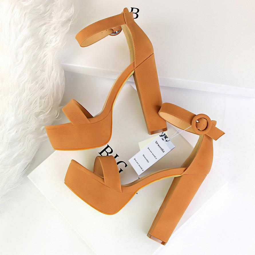 e0951343eb3 2018 Women Classic 13cm Block High Heels Fetish Suede Platform Sandals  Female Chunky Summer Shoes Lady Nude Sexy Khaki Red Pumps Cheap Sandals  Summer ...