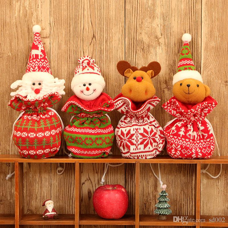 Knitted Fabric Wool Doll Apple Bag Christmas Decorations Children ...