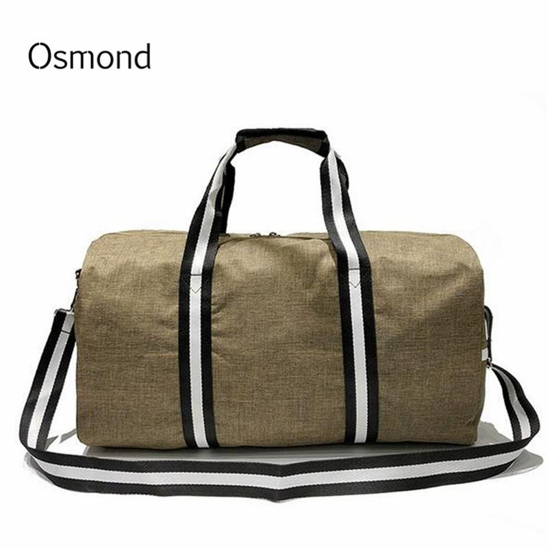 302d65cfa2ed Osmond Large Capacity Travel Bag For Women Mens Luggage Traveling Duffel  Striped Nylon Totes Carry On Leisure Bags Lady Female