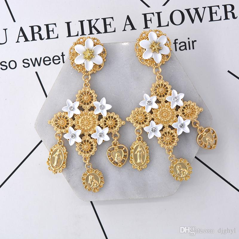 Barocco vintage di lusso con strass di cristallo grande croce orecchini le donne gioielli di moda barocco ciondola orecchini pendenti grandi orecchini