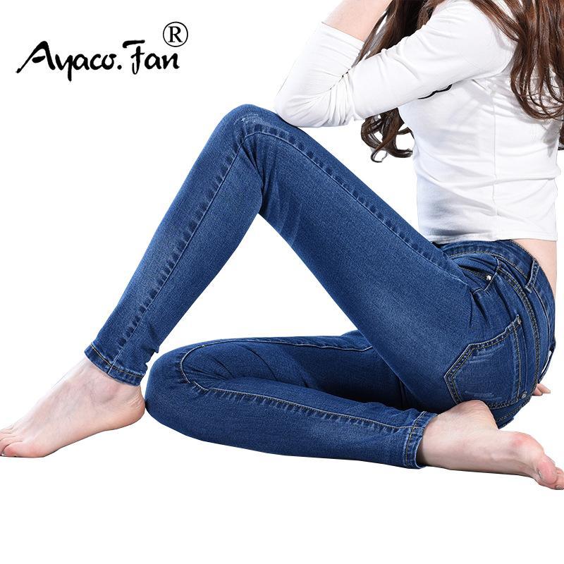 4083808f71 Compre Pantalones Vaqueros Delgados Para Mujer Pantalones Vaqueros Flacos Mujer  Pantalones Lápiz Del Dril De Algodón Azul Estiramiento Integral Pantalones  ...
