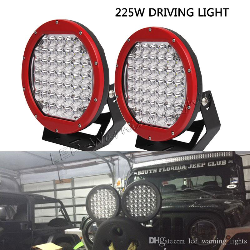 Free shipping 4pcs 225W ARB round offroad front bumper driving lights for  wrangler 4x4 dune buggy 4WD vehicles LED working light spotlight