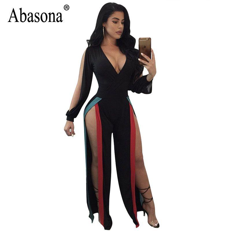 bec505ee546 Abasona Sexy Women Jumpsuits Long Sleeve Split Party Club Rompers ...