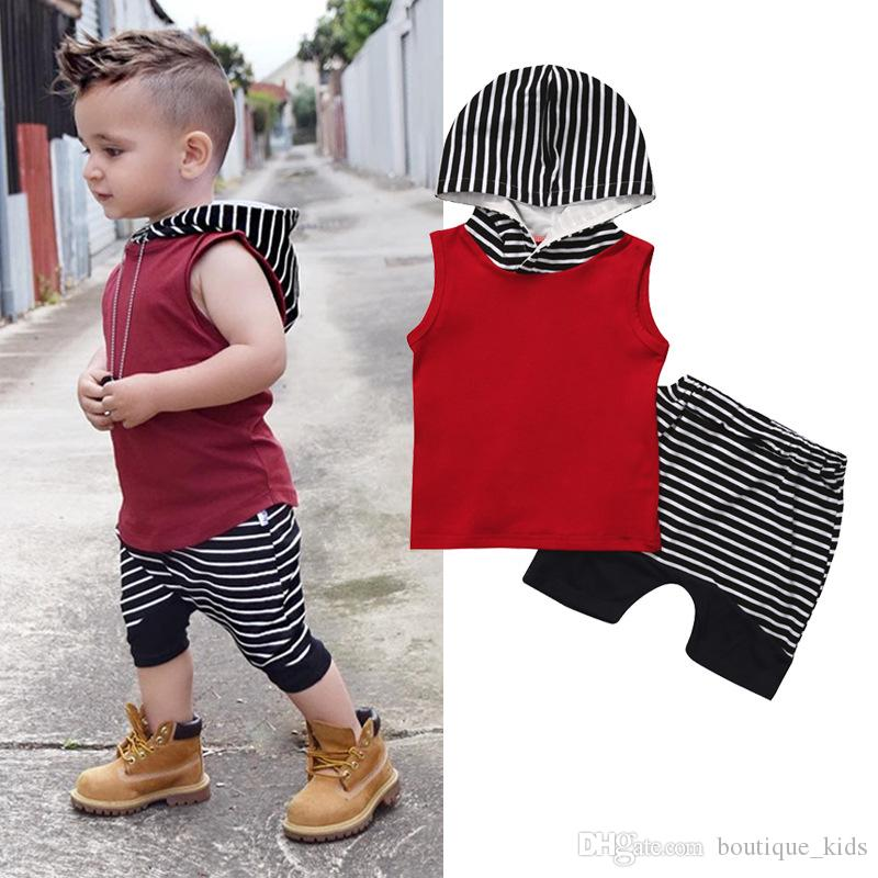 4e86a155e 2019 2018 Summer Baby Boy Clothes Sleeveless Hooded Tops +Striped Shorts  Pants Boys Outfits Toddler Boy Clothes Children Kids Clothing Sets From ...
