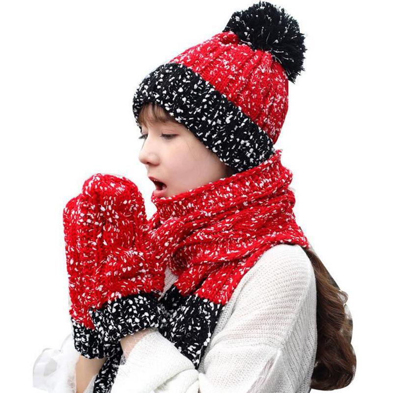 4172d17d0b2b2 BINGYUANHAOXUAN Women Lady Winter Warm Knitted Snowflake Hat Gloves And Scarf  Winter Set Baseball Caps Snapback Hats From Naughtie