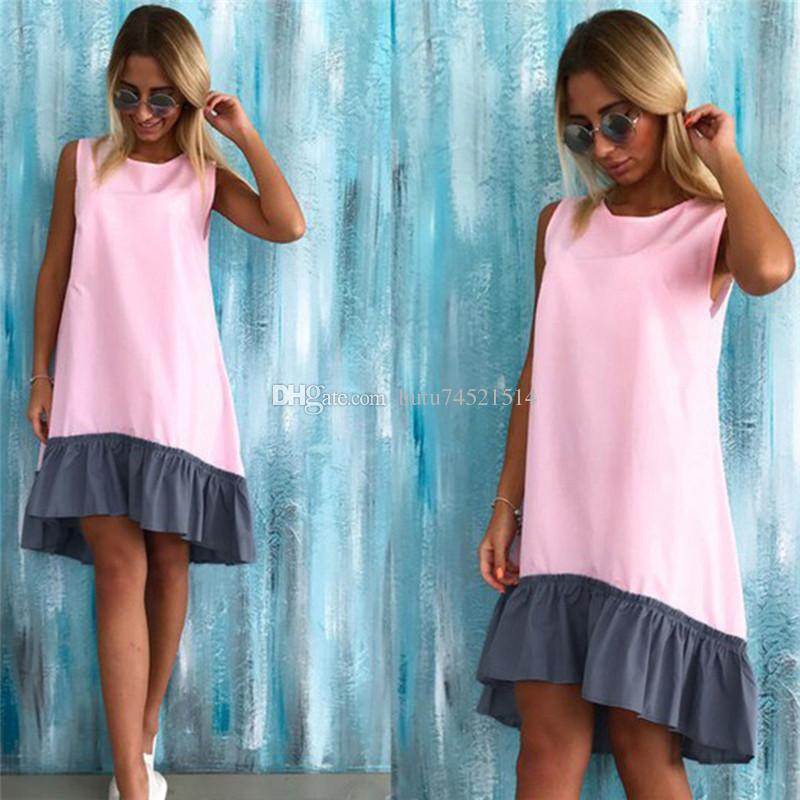 Sommer Sleeveless beiläufige Kleider 2018 Frauen lösen Patchwork Sleeveless Rüschen O-Ansatz Mini Beach Dress Plus Size