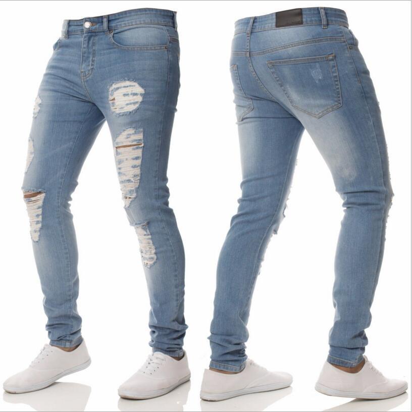 5094fceeef56d5 2019 Men S Light Blue Skinny Jeans Men Spring Holes Slim Denim Jeans High  Street Style Men Pencil Pants Skinny Jean Pants From Xiamen2013