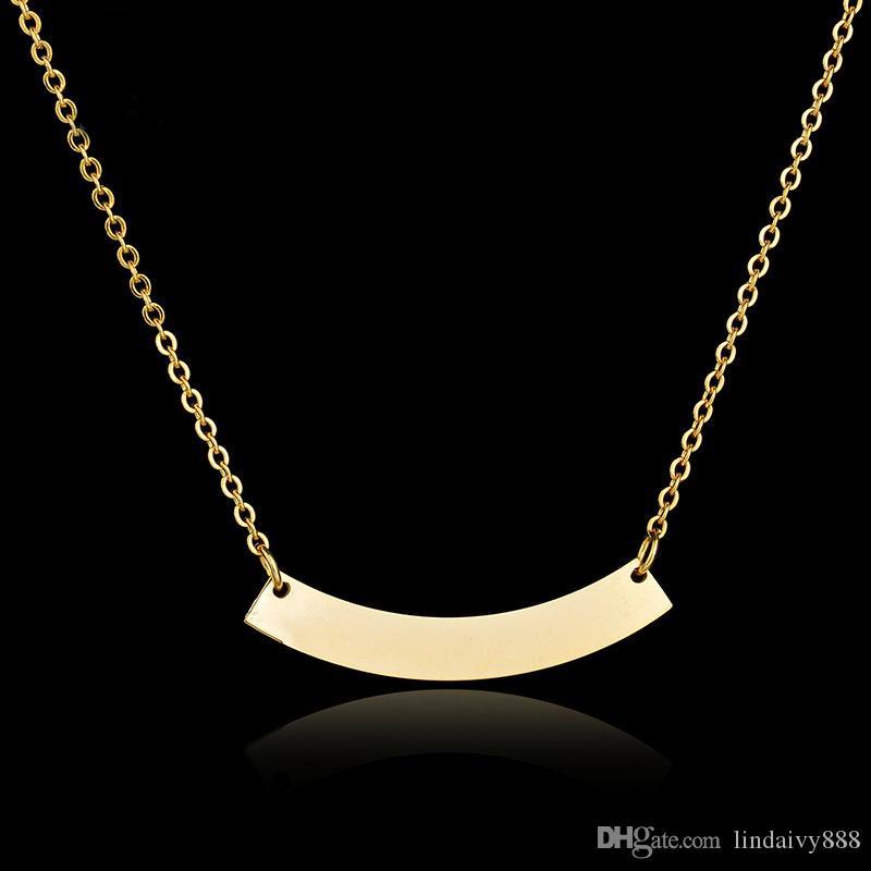 kadınlar erkekler için Bent etiketi kolye kolye Kişiselleştirilmiş Hediye 316L Paslanmaz Çelik altın renk Özel Kişiselleştirilmiş Adı Özelleştirilmiş Bar kolye