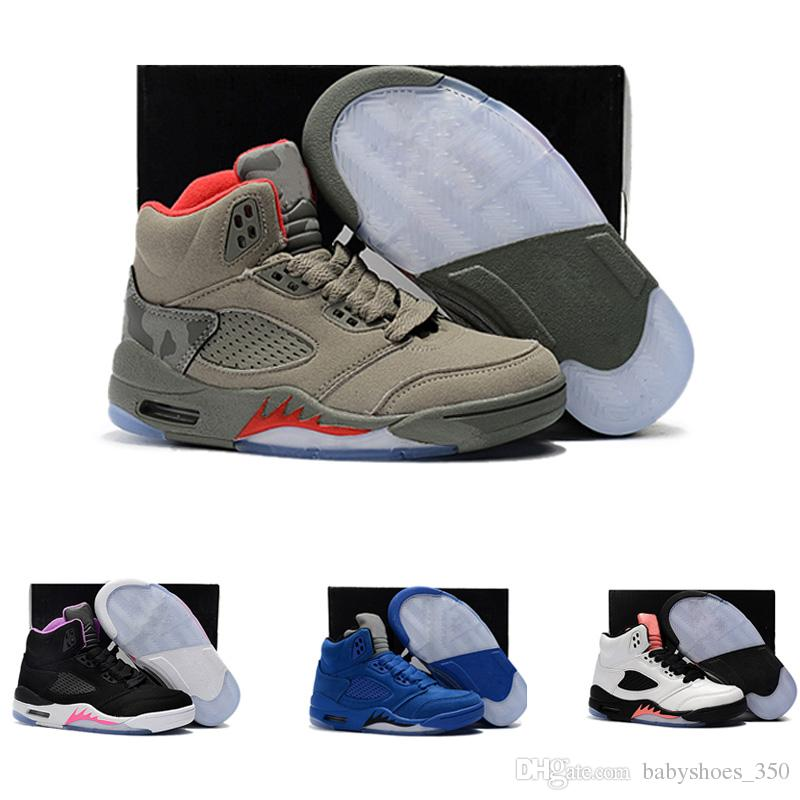purchase cheap f0bea c7676 Acquista Nike Air Jordan 5 11 12 Retro Designer Economici Air 5S Kids JD Scarpe  Da Ginnastica Bambini Scarpe Da Basket Wolf Grey Sport Sneakers Ragazzi E  ...