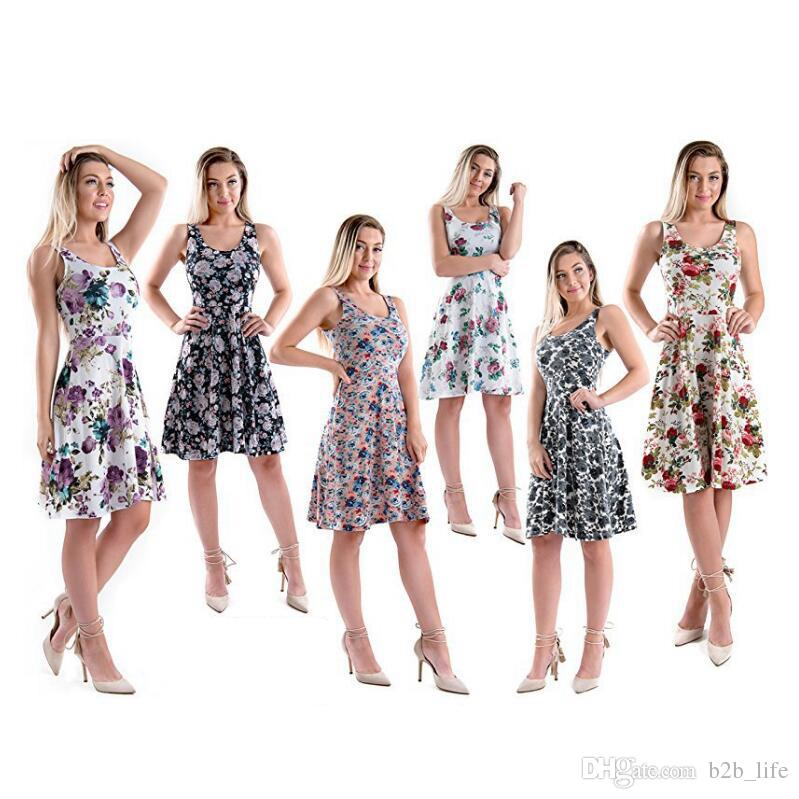 Floral Printed Sleeveless Dress Women Evening Gown Party Maxi Dress Girls Summer Beach Clothing Casual Sundress Girl's Dresses OOA5010