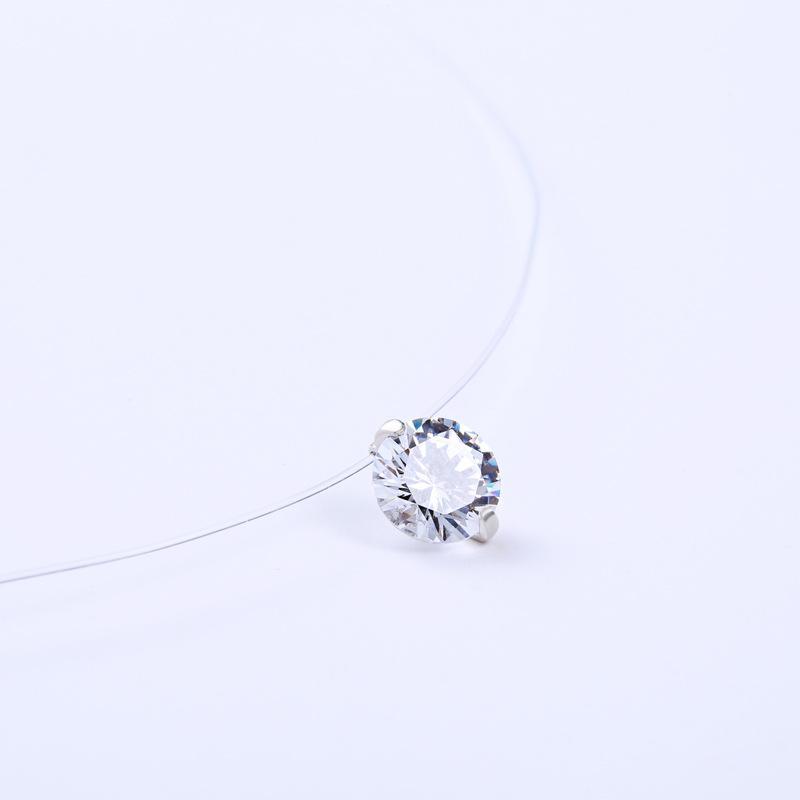 Moda Colar Gargantilha Transparente Invisível Linha De Pesca Clavícula Cadeia Colar Mulheres Cristal CZ Pingente Colares de Jóias
