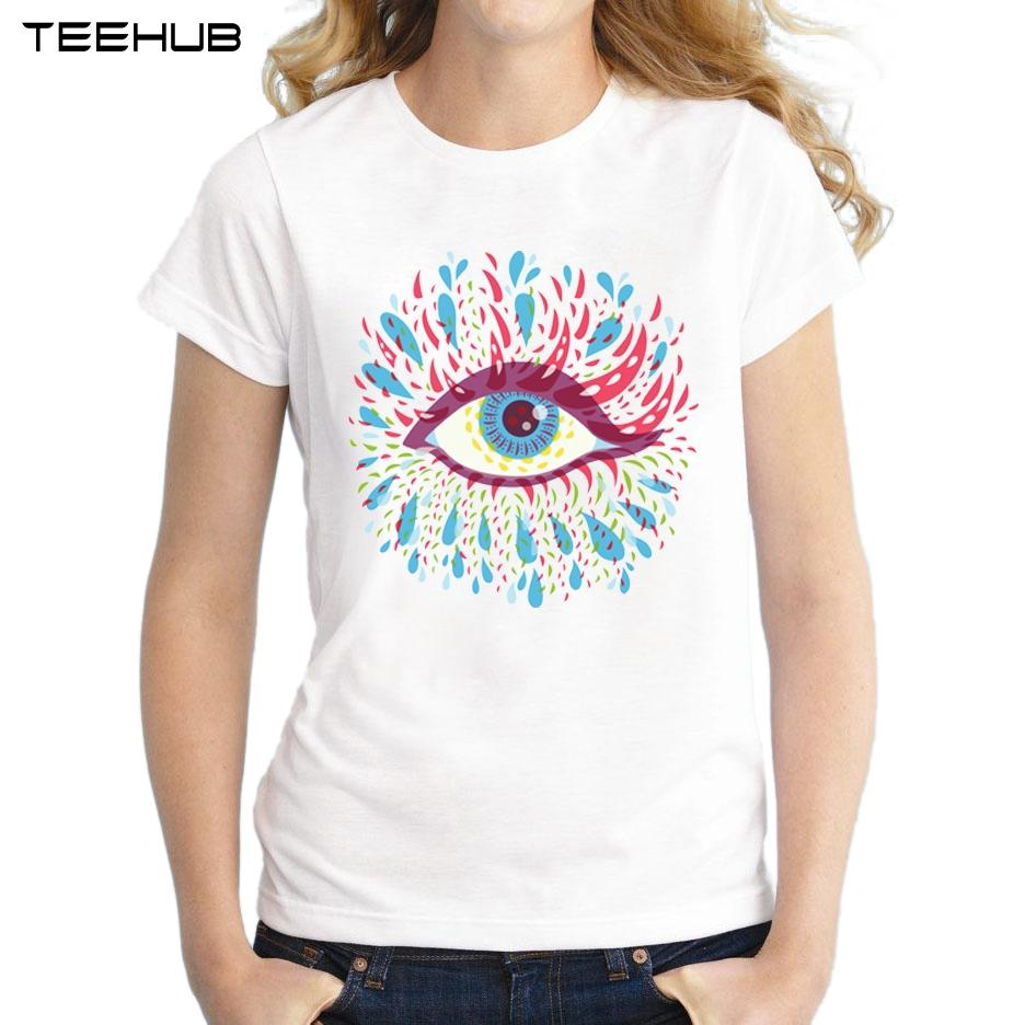 Women's Tee Wholesale Discount 2018 Women Summer Novelty Blue Psychedelic Eye Printed T-shirt Casual Short Sleeve T Shirt Tops