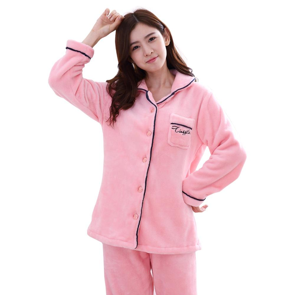 301e2491ef 2019 Pajamas Set Women Autumn And Winter Pajamas Women Long Sleeve  Sleepwear 100% Flannel Warm Lovely Tops Pants Sleep Pajama Female From  Sweatcloth