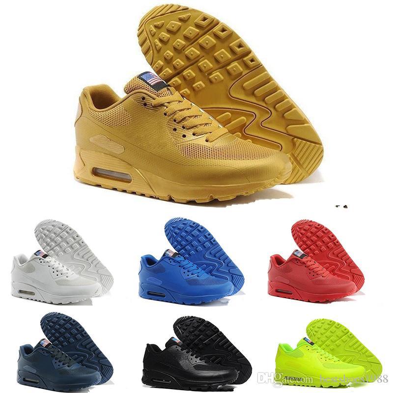 Nike Air Max 90 KPU2018 90 KPU de alta calidad nuevo cojín de gamuza casual al aire libre que camina zapatos 90 hombres para mujer barato zapato
