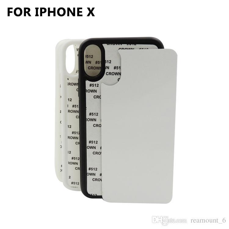 10 piezas Retail DIY Sublimation 2D Silicon Case para iPhone 8 Cubierta de transferencia de calor impresa en blanco para iPhone X con placa de aluminio