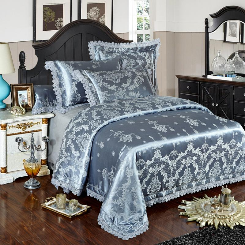 Silver Gold Blue Lace Jacquard Luxury Bedding Sets Queen King Size