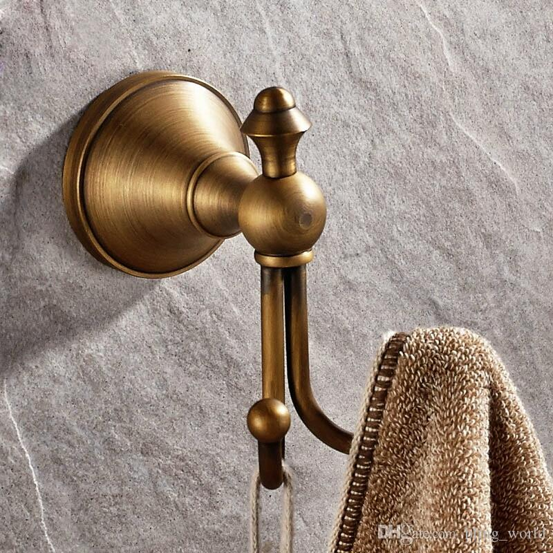 Vintage Antique Brass Hook Wall Mounted Clothes Hook Bathroom Wall Hooks  Towel Holder Bathroom Accessories Home Supplies YFA232