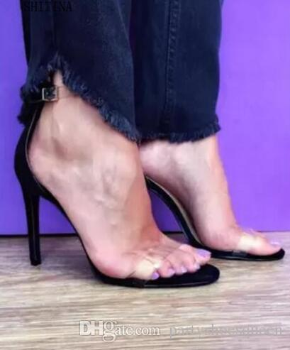 2018 High heels sandals women vogue PVC Transparent women's summer footwear sexy sbuckle Women's high heel shoes