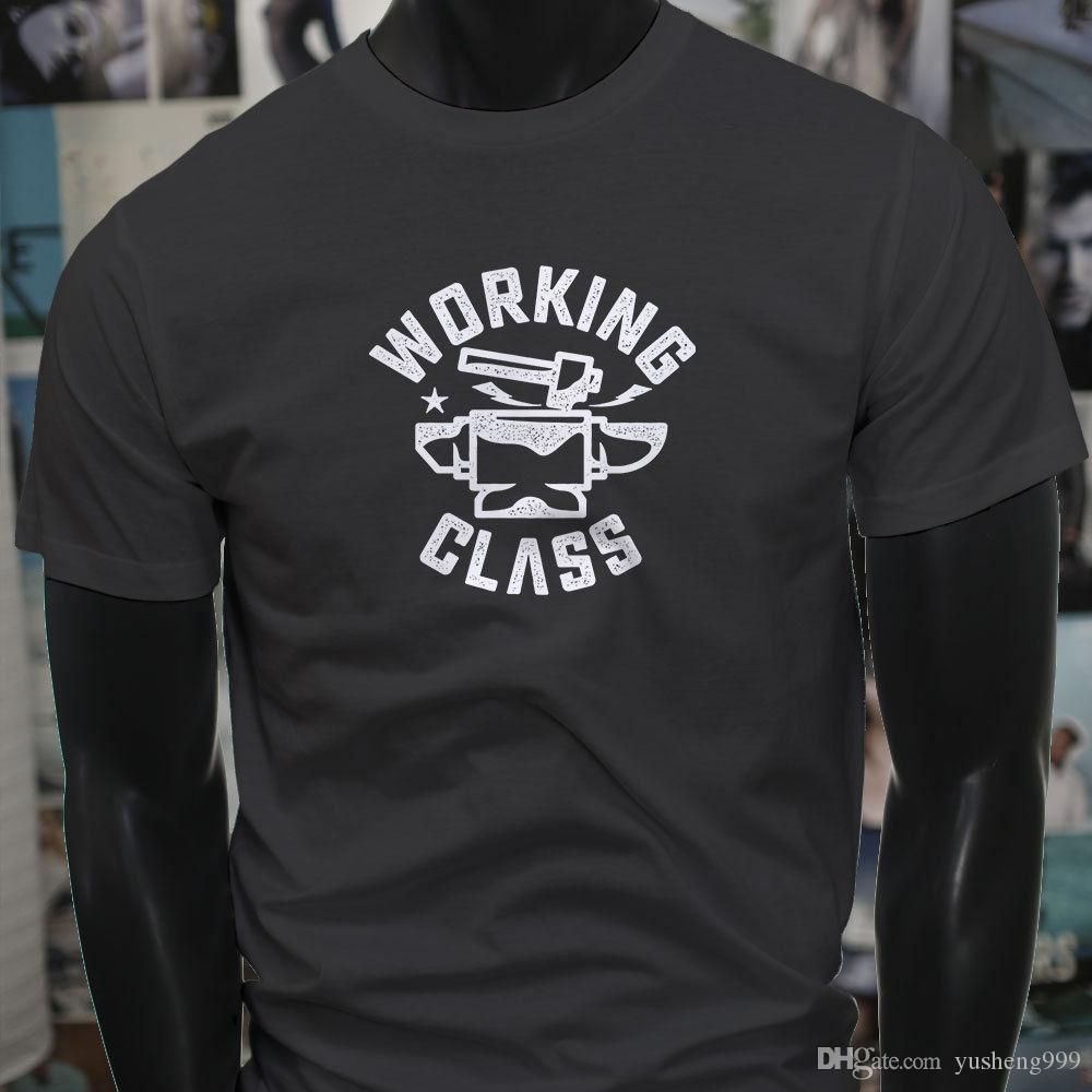 New 2018 Summer Mens 100 Cotton Tshirts Custom Working Class Anvil Hammer Blacksmith Metal Work Mens Charcoal Tee Shirt