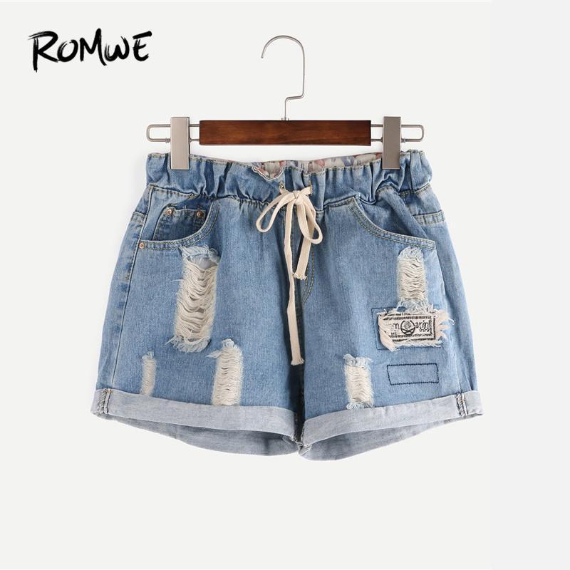 f4a5e51fce 2019 ROMWE Ripped Drawstring Waist Rolled Hem Blue Denim Shorts ...