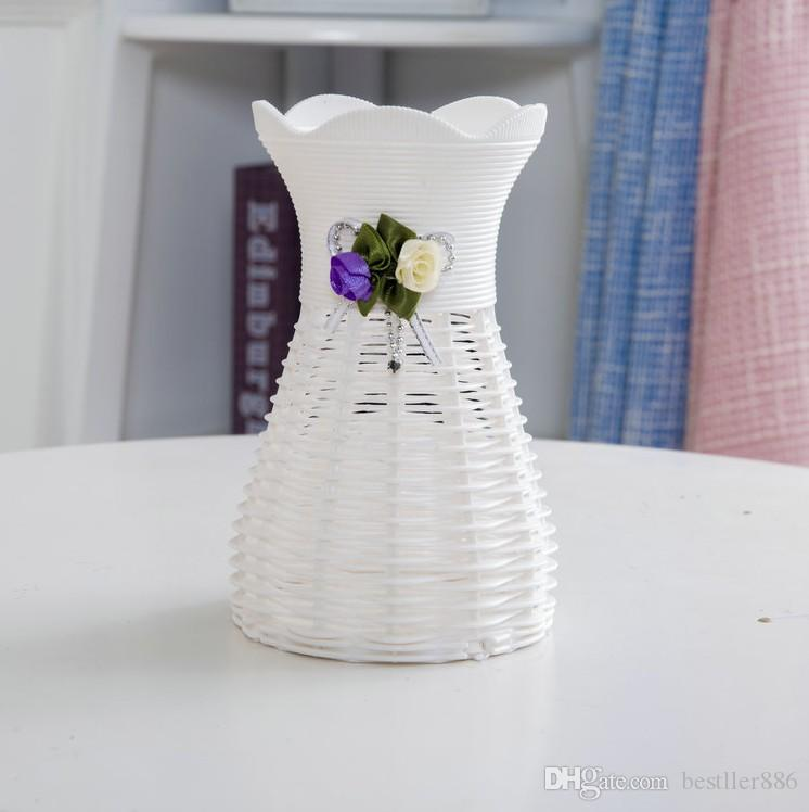 White Rattan Flower Basket Vase Vases Storage For Wedding Party Homes Garden Office Decoration