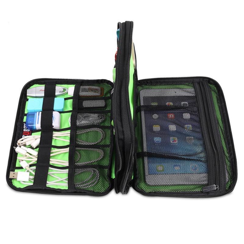 Amazing Portable Storage Case Large Double Layer Cable Organizer Bag Digital USB  Cable Earphone Pen Travel