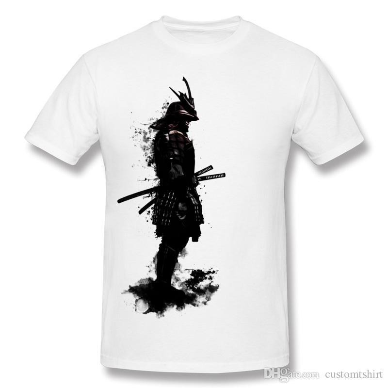 Luxury Men 100 Cotton Armored Samurai T Shirt Men O-Neck Dark Green Short Sleeve T-Shirts S-6XL Printed On T Shirt