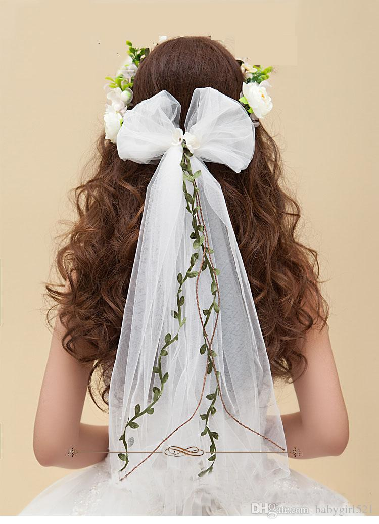 Baroque Boho Wedding Crowns Handmade 3D Flower Crown Women Garland Anadem Bridal Hair Accessories With Tulle Bow-knot For Party Girls