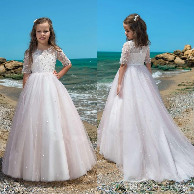 Pale Pink Pearls Lace Flower Girl Dresses For Wedding Sheer Jewel