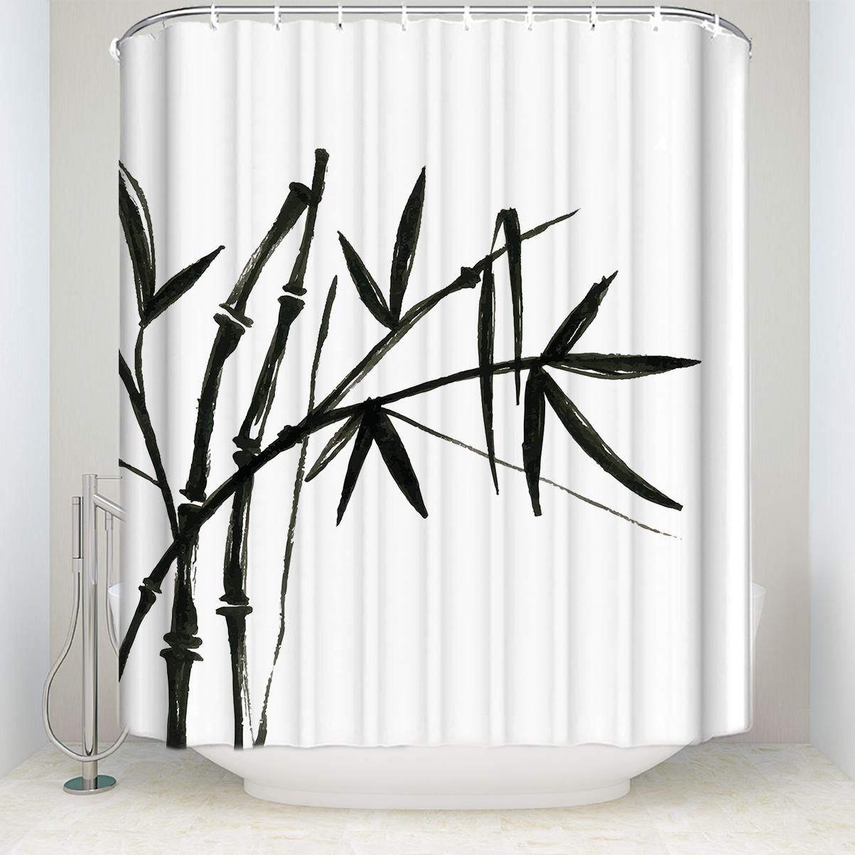 2018 Custom Waterproof Bathroom Chinese Ink Painting Bamboo Print Shower Curtain Polyester Fabric Black White From Waxer 3051