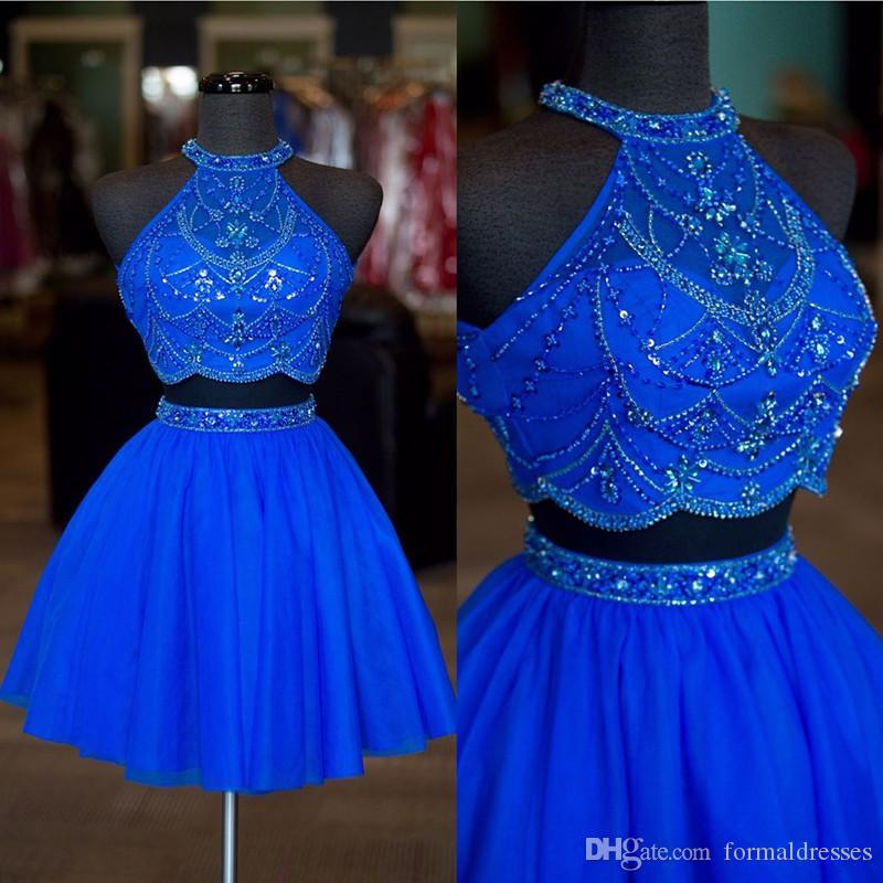 Hot Sale Blue Red Short Homecoming Dresses Halter Beading Backless Tulle 8th Grade Graduation Cocktail Party Gown Africa Prom Dress Cheap
