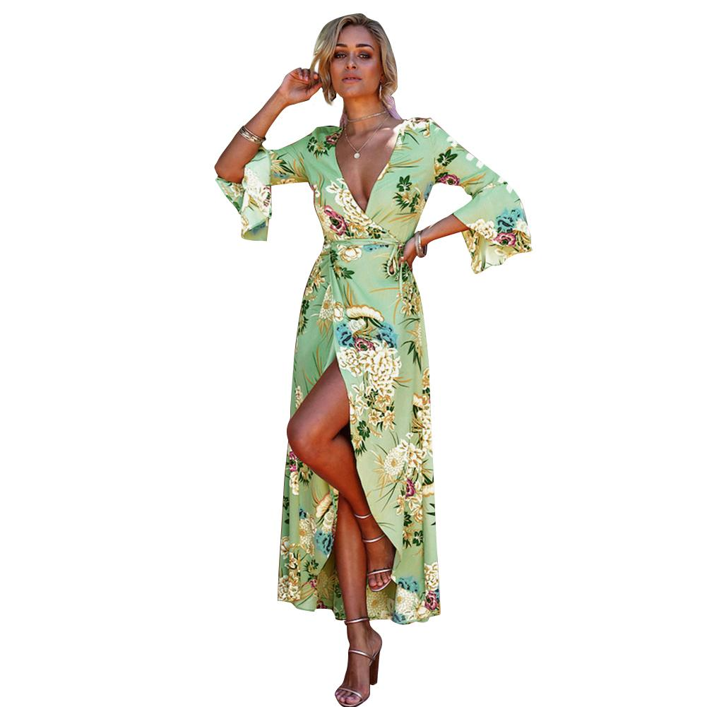 a6e5cd6451 Sexy Women Wrap Dress Floral Print Deep V Neck Flare Sleeve Boho Dress High  Split Belt Bohemian Maxi Summer Beach Dresses 2018 Green Dresses For  Juniors ...