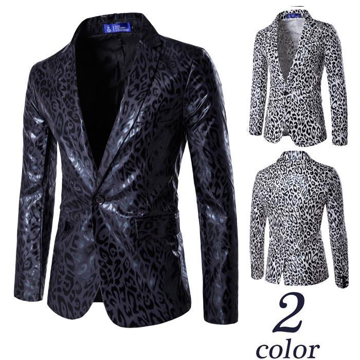 New Mans Casual British Blazer Single Button Male Suit Blazer Leopard Print Blazer For Men Luxury Fashion Slim Fit Jacket Coats