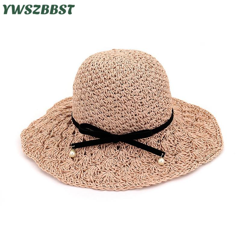 New Women Sun Hats Summer Female Wide Large Brim Foldable Straw Hat Bowknot  Accessories Women Sunscreen Cap Beach Bucket Hat Hats For Women Trilby Hat  From ... 1c8787893a63