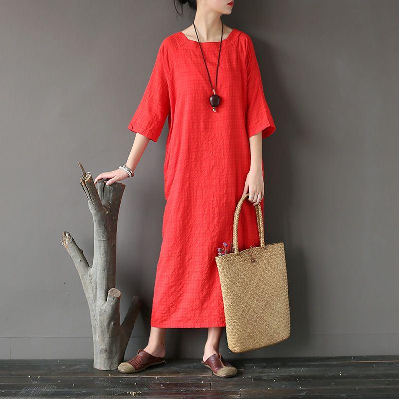 a32908dd6696 2019 O Neck Solid White Red Cotton Summer Dress Women Loose Casual Mid Calf  Long Dress Original Design Brand Robe Vestidos Femme A233 From Fabian05, ...