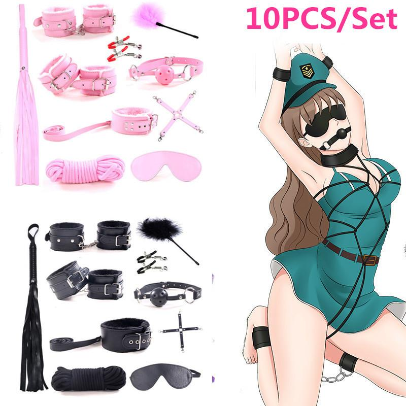 10 Pcs/set Sexy Lingerie PU Leather BDSM Sex Bondage Set Hand s Foot Whip Rope Blindfold Erotic Sex Toys For Couples Y1893003