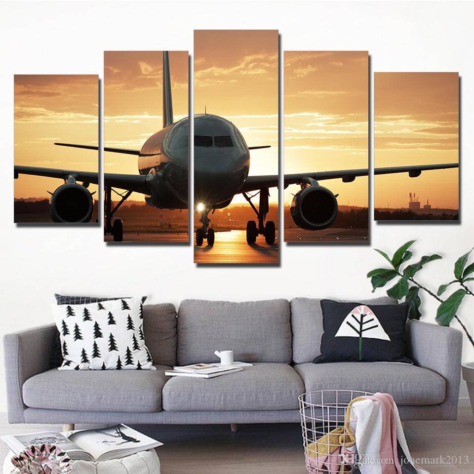HD Printed Canvas Art Golden Sunset Painting Wall AirPlane Posters For Home Living Room Decor CU-2785C