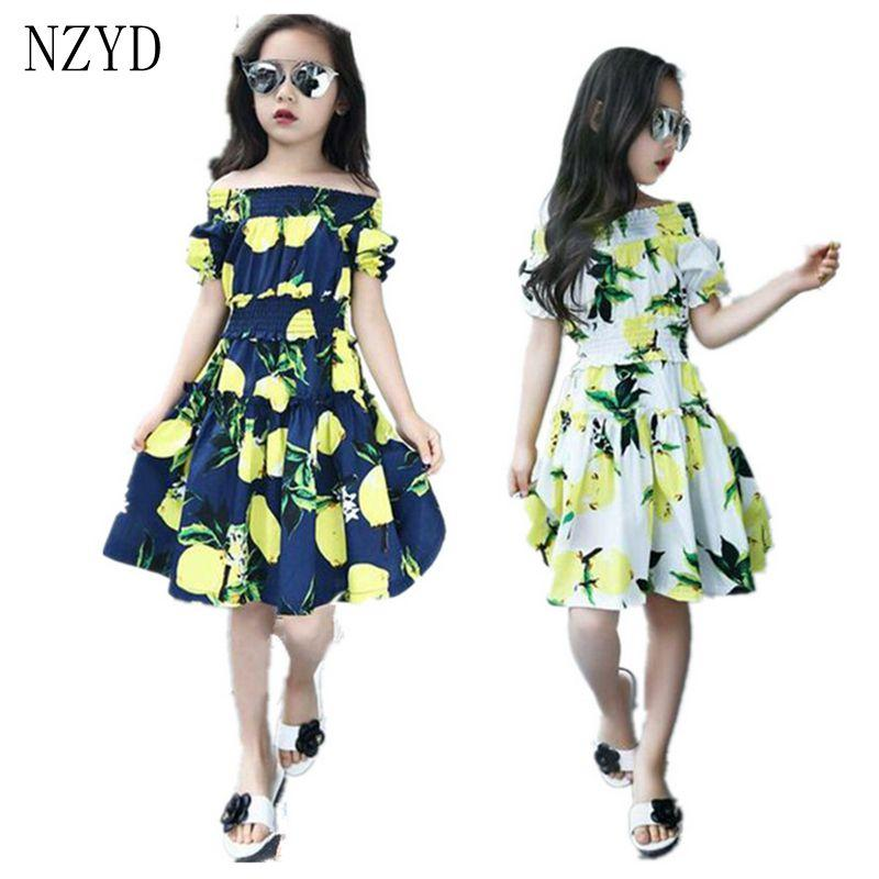 db89d57781ea5d Girls Summer Fashion Dress Printing Shoulder-Length Kids Clothing 2017 New  Casual Pretty 2 to 12 Years old Girl Dress DC291