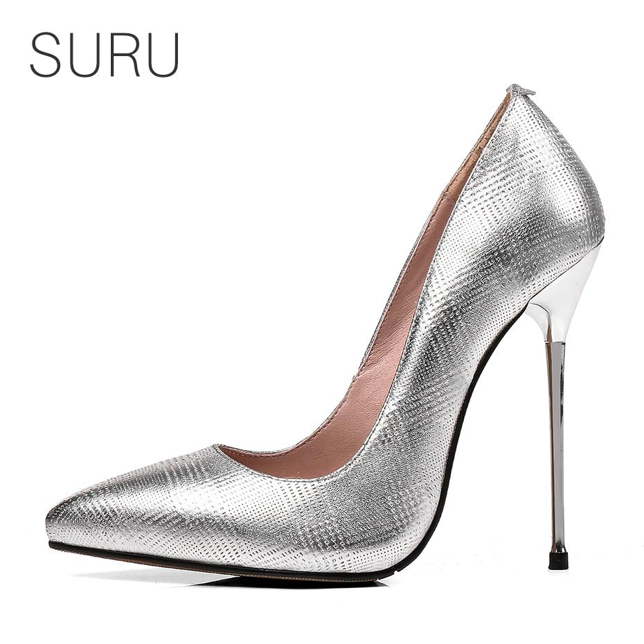 e453f3a60cc Wholesale Women Silver Stilettos Office Lady Pumps 5 Inches Metal High Heels  Sexy Pointed Toe Party Wedding Heels Plus Size EUR 30 45 High Heel Shoes  Mens ...