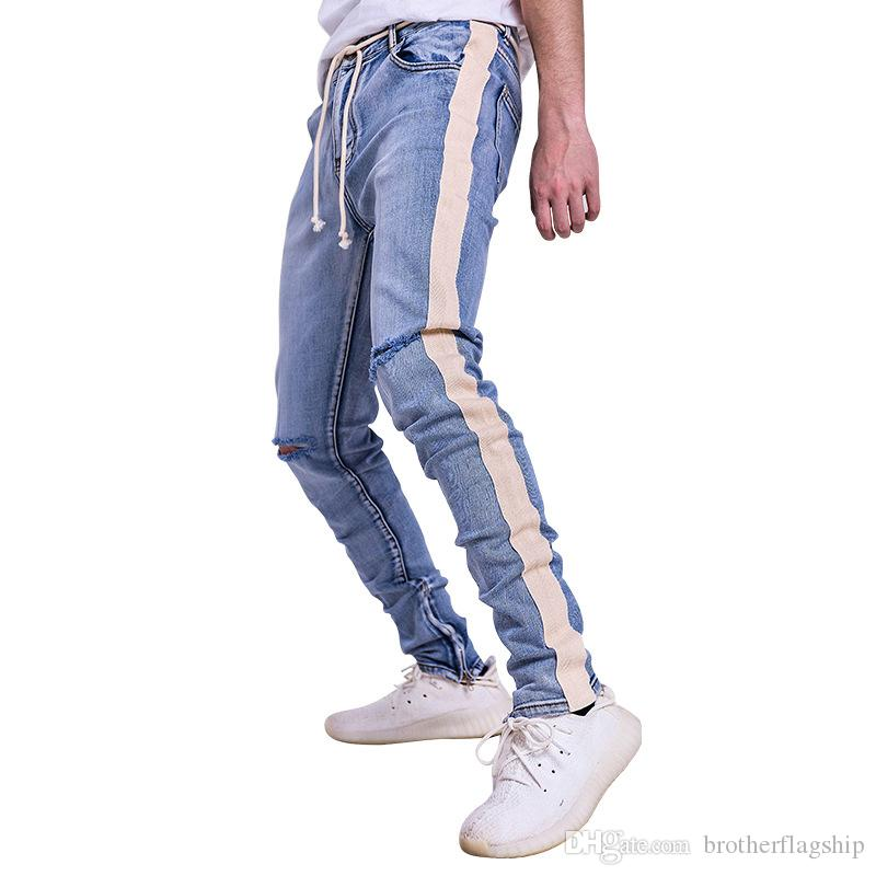 8ded2e0c0db7 2019 Biker Jeans Men Hole Side Zipper Striped Denim Pants Mens Skinny Jeans  Baggy Cotton Trousers Bottoms Jean Fashion 2018 From Brotherflagship, ...