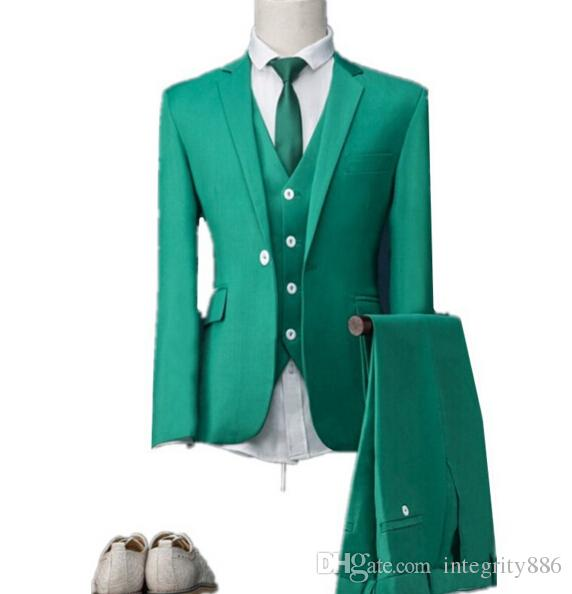 Slim Fit Green Three Piece Groom Tuxedos Notch Lapel One Button Man Wedding Suit Men Business Dinner Prom Blazer(Jacket+Pants+Tie+Vest) 429