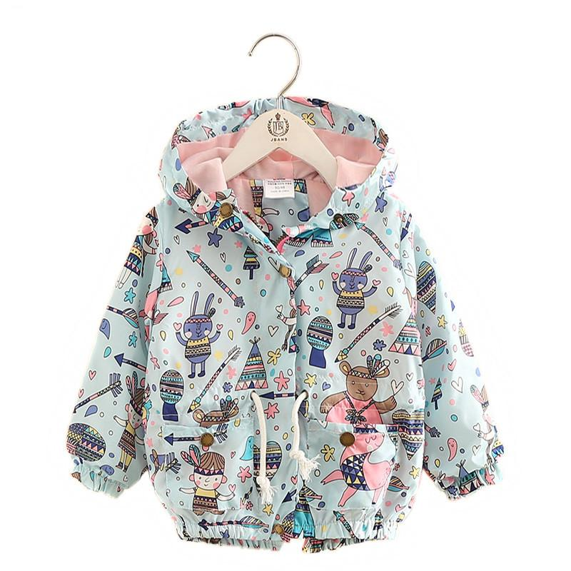 1ed4431fcb82 Spring Baby Girl Jackets Coats Cartoon Graffiti Hooded Windbreaker ...