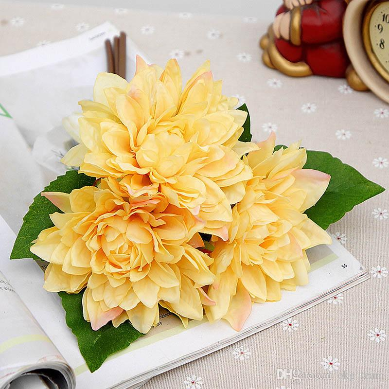 Artificial peony plastic flowers Bride bouquet autumn decor for vases new Year christmas home wedding fake daisy silk Dahlia