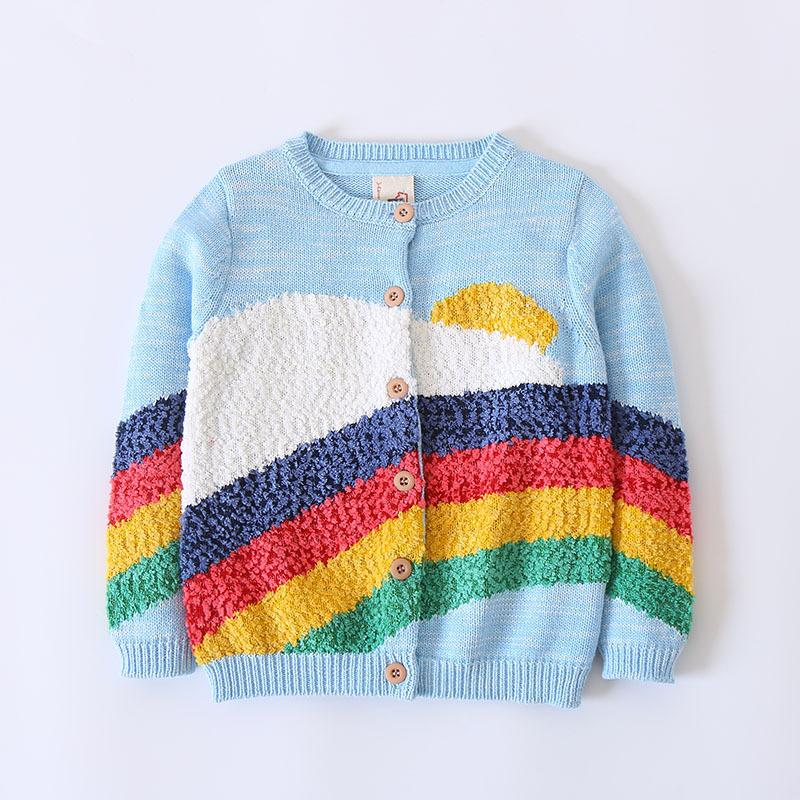 New Girls Cardigan Rainbow Knitted Long Sleeve Blue Sweater Warm