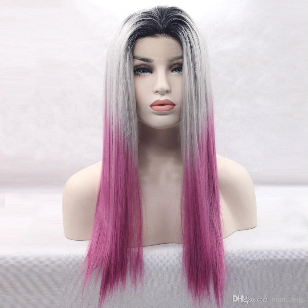 Cosplay Wig Ombre Black Grey Lavender Synthetic Lace Front Wig Light Purple  Resistant Fiber Synthetic Wig Straight Lace Front Synthetic Wigs Lace Wig  Styles ... 095d2f290