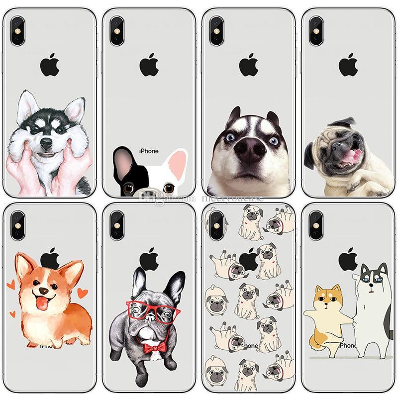 e6ca492273d Fundas De Móviles Caja Del Teléfono Para Apple IPhone XS MAX XR 5 5S SE 6  6S 7 8 Plus X Lindo Perro Gracioso Perrito Bulldog Husky Patrón De  Impresión TPU ...